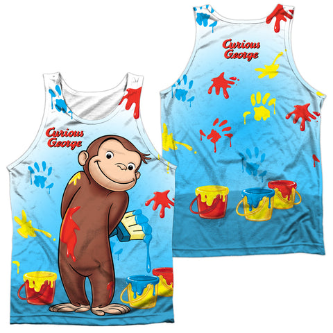 Curious George Paint All Over (Front/Back Print) Men's Regular Fit Polyester Tank Top