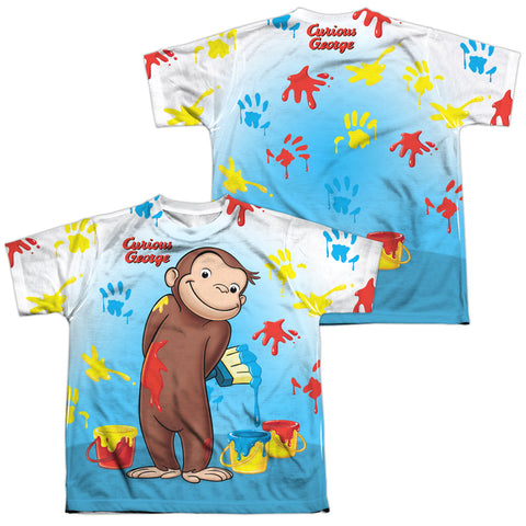 Curious George Paint All Over (Front/Back Print) Youth Regular Fit Poly SS T