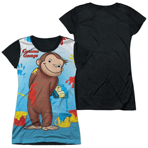 Curious George Paint All Over Junior's Black Back Poly Cap-Sleeve T