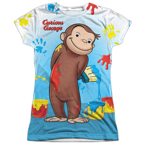 Curious George Paint All Over Junior's Poly Cap-Sleeve T