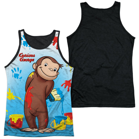 Curious George Paint All Over Men's Black Back Poly Regular Fit Tank Top