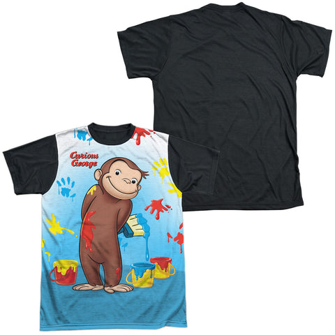 Curious George Paint All Over Men's Black Back Regular Fit Poly SS T