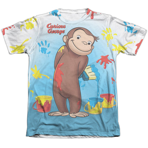 Curious George Paint All Over Men's Regular Fit Poly Cotton SS T