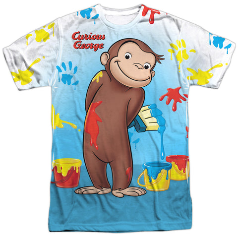 Curious George Paint All Over Men's Regular Fit Polyester SS T