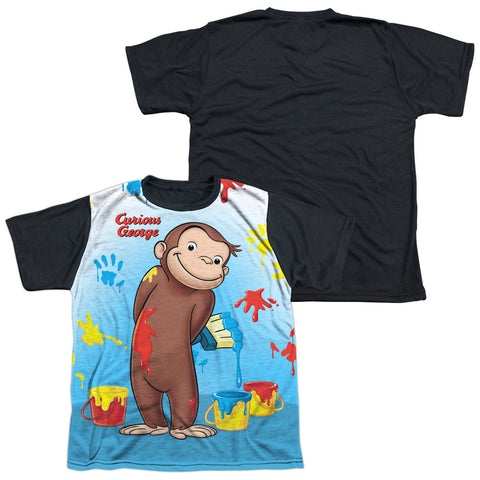 Curious George Paint All Over Youth Black Back Poly Regular Fit SS T