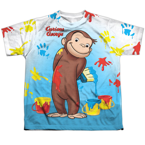 Curious George Paint All Over Youth Regular Fit Poly SS T