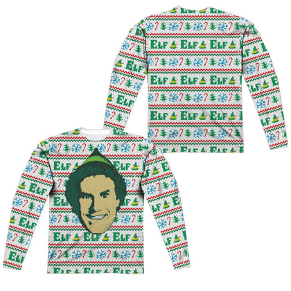 Elf Elf Sweater (Front/Back Print) Men's Regular Fit Polyester LS T
