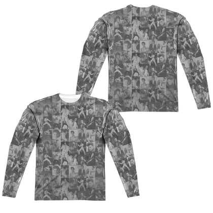 Elvis Presley Tcb Crowd (Front/Back Print) Men's Regular Fit Polyester LS T