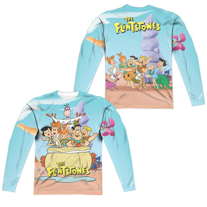 Flintstones Gang (Front/Back Print) Men's Regular Fit Polyester LS T