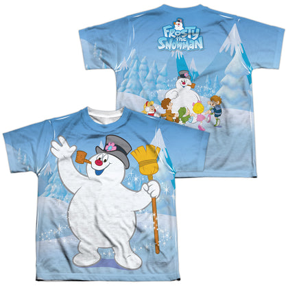 Frosty The Snowman Frosty Wave (Front/Back Print) Youth Regular Fit Poly SS T