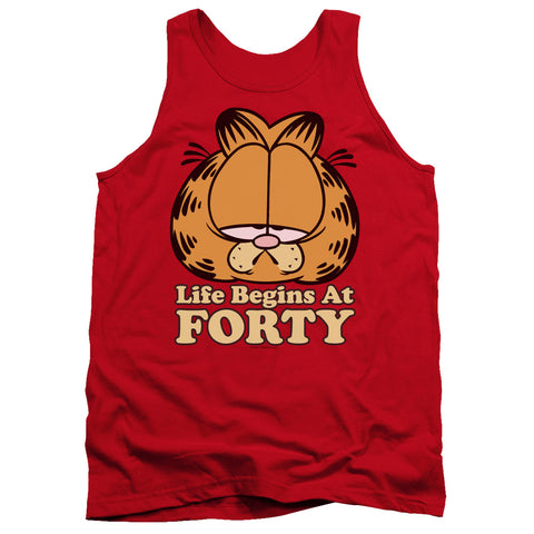 Garfield Life Begins At Forty Men's 18/1 Cotton Tank Top