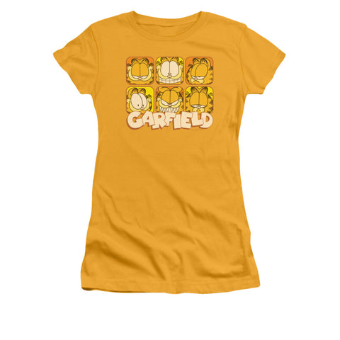 Garfield Many Faces Junior's 30/1 Cotton Cap-Sleeve T