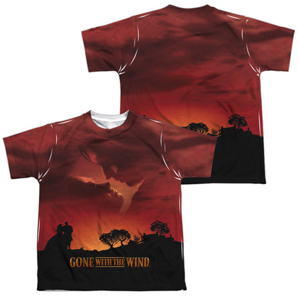 Gone With The Wind Sunset (Front/Back Print) Youth Regular Fit Poly SS T