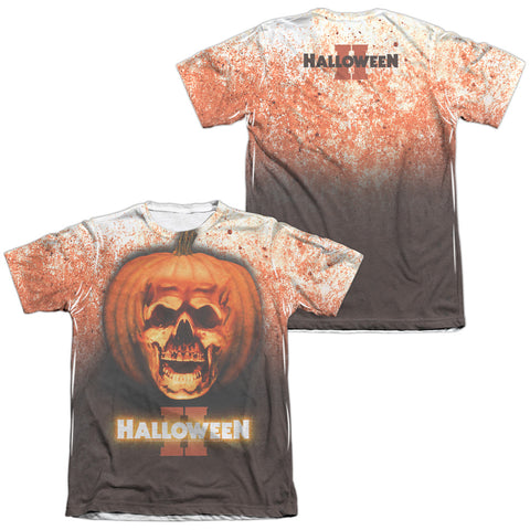 Halloween Pumpkin Skull (Front/Back Print) Men's Regular Fit Poly Cotton SS T