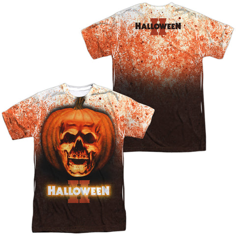 Halloween Pumpkin Skull (Front/Back Print) Men's Regular Fit Polyester SS T