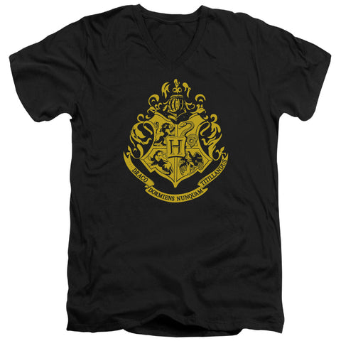 Harry Potter Hogwarts Crest Men's 30/1 Cotton Slim V-Neck T