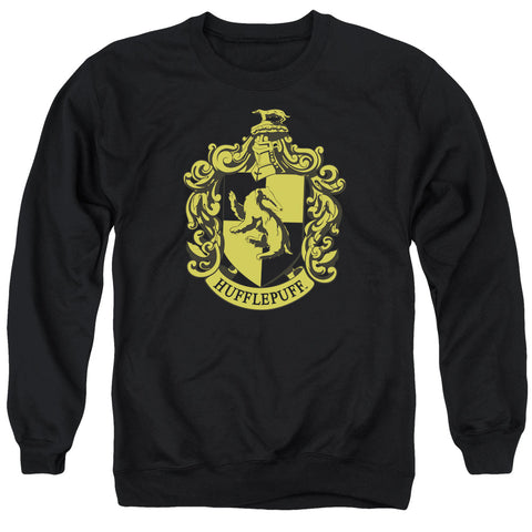 Harry Potter Hufflepuff Crest Men's Crewneck 50 50 Poly LS T