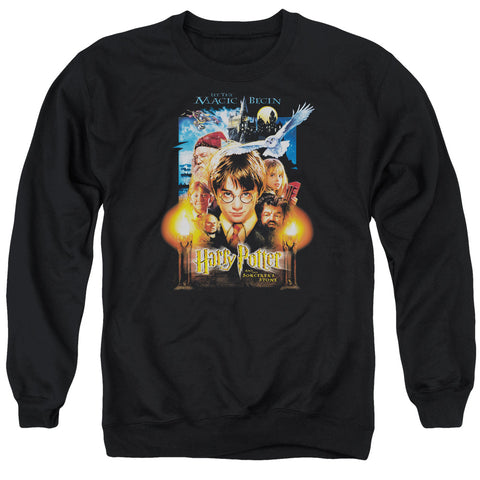 Harry Potter Movie Poster Men's Crewneck 50 50 Poly LS T