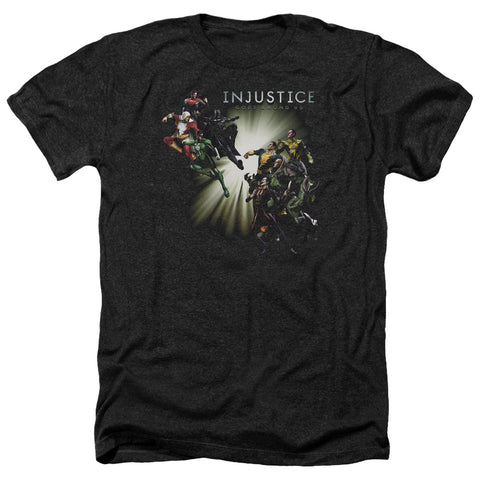 Injustice Gods Among Us Good Vs Evils Men's 30/1 Heather 60 40 Poly SS T