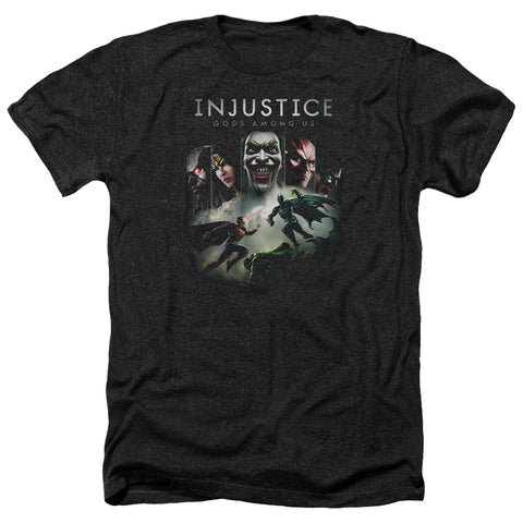 Injustice Gods Among Us Key Art Men's 30/1 Heather 60 40 Poly SS T
