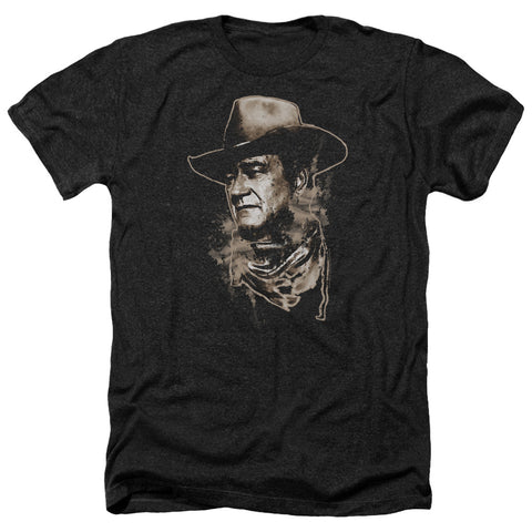 John Wayne Painted Portrait Men's 30/1 Heather 60 40 Poly SS T