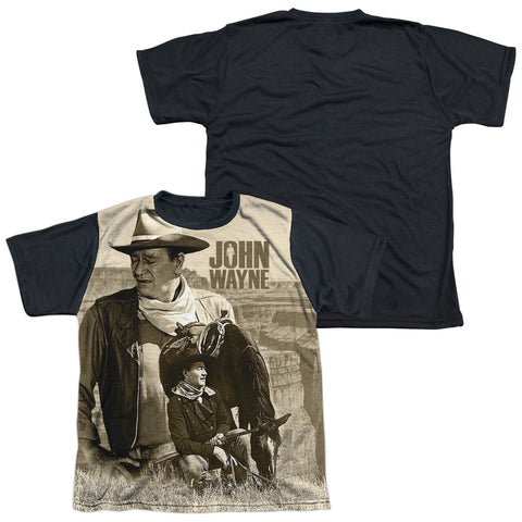 John Wayne Stoic Cowboy Youth Black Back Poly Regular Fit SS T