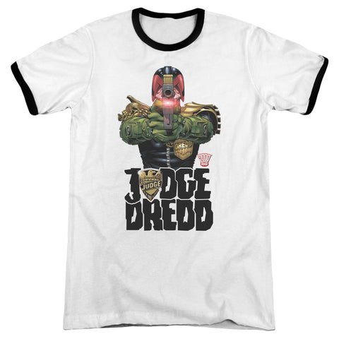 Judge Dredd In My Sights Men's 30/1 Heather Ringer 50 50 Poly SS T