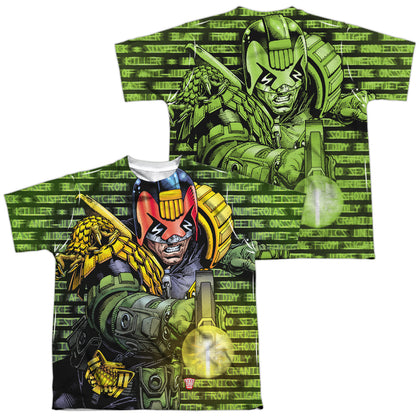 Judge Dredd Matrix (Front/Back Print) Youth Regular Fit Poly SS T