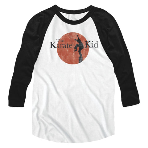 Karate Kid Special Order 80S Logo Adult 3/4 Sleeve Raglan