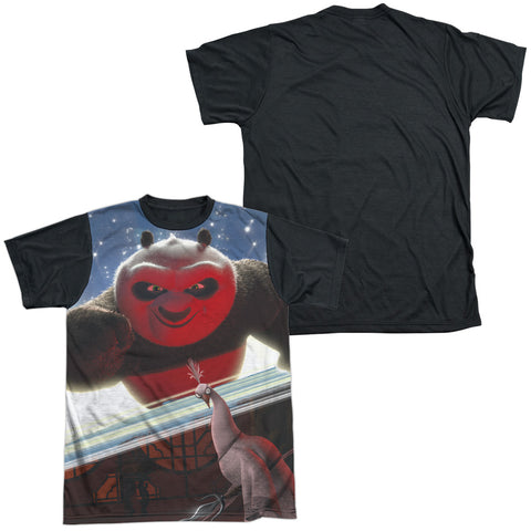 Kung Fu Panda Epic Jumping Men's Black Back Regular Fit Poly SS T