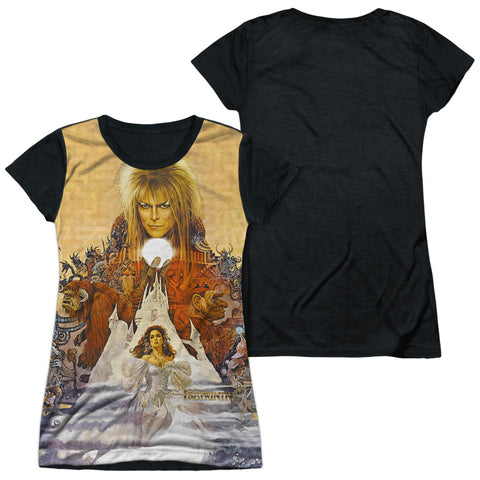 Labyrinth Cover Art Junior's Black Back Poly Cap-Sleeve T
