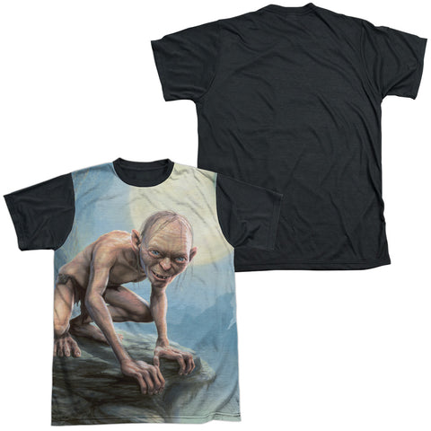Lord Of The Rings Gollum Moon Men's Black Back Regular Fit Poly SS T