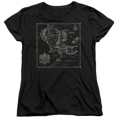Lord Of The Rings Map Of Me Women's 18/1 Cotton SS T