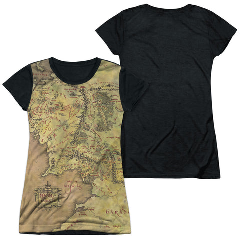 Lord Of The Rings Middle Earth Map Junior's Black Back Poly Cap-Sleeve T