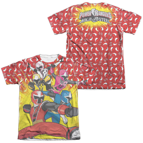 Power Rangers Go Go Ninja Steel (Front/Back Print) Men's Regular Fit Poly Cotton SS T