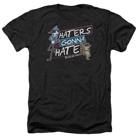 Regular Show Haters Gonna Hate Men's 30/1 Heather 60 40 Poly SS T