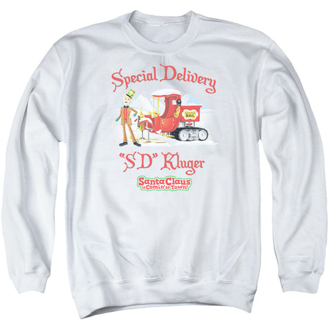 Santa Claus Is Comin To Town Kluger Men's Crewneck 50 50 Poly LS T