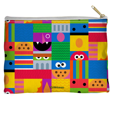 Sesame Street Squares Accessory Pouch Spun Polyester straight bottom