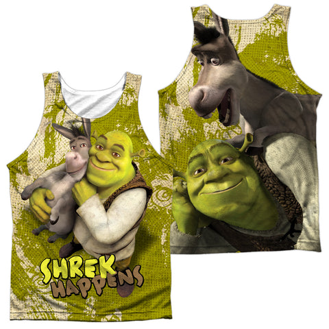 Shrek Best Friends (Front/Back Print) Men's Regular Fit Polyester Tank Top