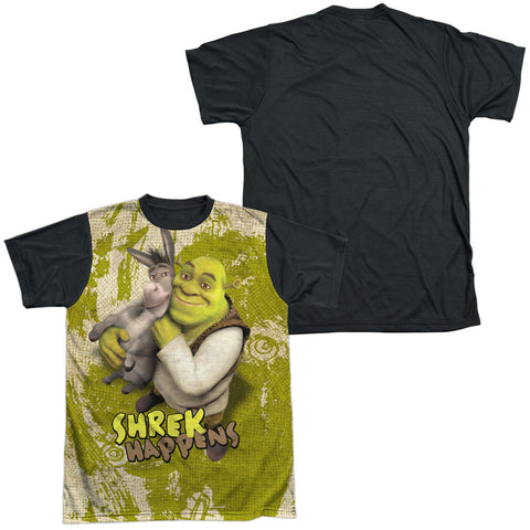 Shrek Best Friends Men's Black Back Regular Fit Poly SS T