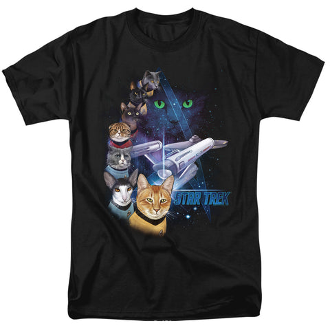 Star Trek Cats Feline Galaxy Men's 18/1 Cotton SS T
