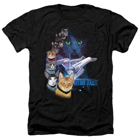 Star Trek Cats Feline Galaxy Men's 30/1 Heather 60 40 Poly SS T