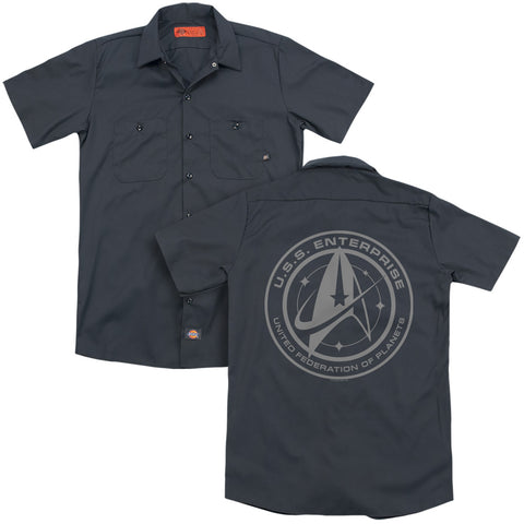 Star Trek Enterprise Crest (Back Print) Men's Cotton Poly SS Work Shirt