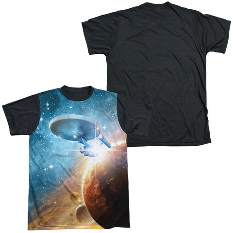 Star Trek Final Frontier Men's Black Back Regular Fit Poly SS T