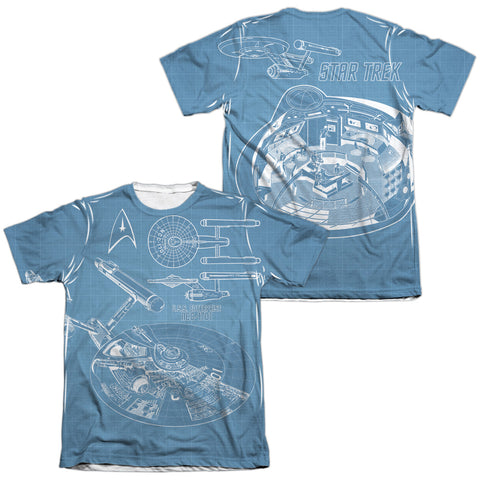 Star Trek Multi Angle Plans (Front/Back Print) Men's Regular Fit Poly Cotton SS T