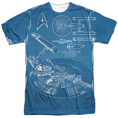Star Trek Multi Angle Plans Men's Regular Fit Polyester SS T