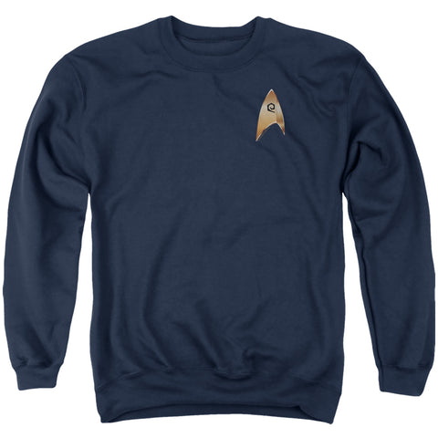 Star Trek Operations Badge Men's Crewneck 50 50 Poly LS T