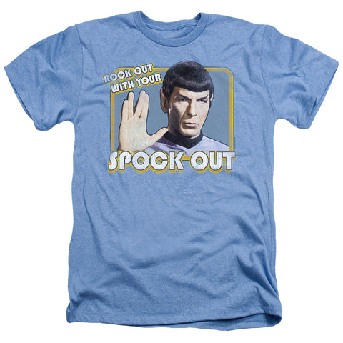 Star Trek Spock Out Men's 30/1 Heather 60 40 Poly SS T