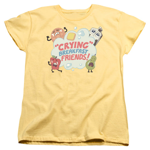 Steven Universe Crying Breakfast Friends Women's 18/1 Cotton SS T