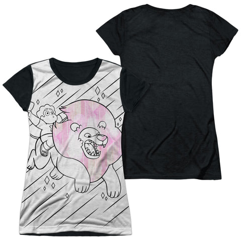 Steven Universe Stev And Lion Junior's Black Back Poly Cap-Sleeve T